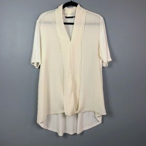 H By Halston White Light And Breezy Flowy Blouse L
